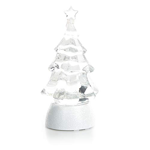 ReLive 8.5″ Glitter Christmas Tree – Light Up Snow Globe Decor – White