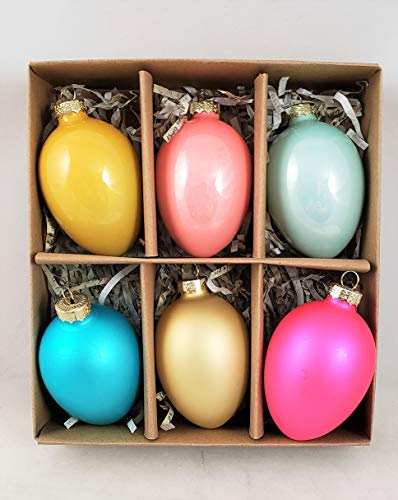 180 Degrees Easter Egg Set of 6 Glass Ornaments Shiny & Matte Finish Boxed Set