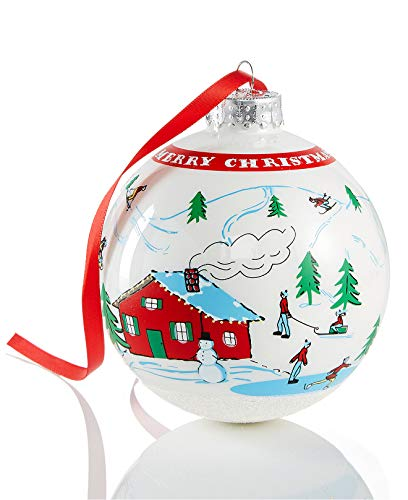 Holiday Lane Whimsical Winter Snow Scene 4-in Glass Christmas Ball Ornament