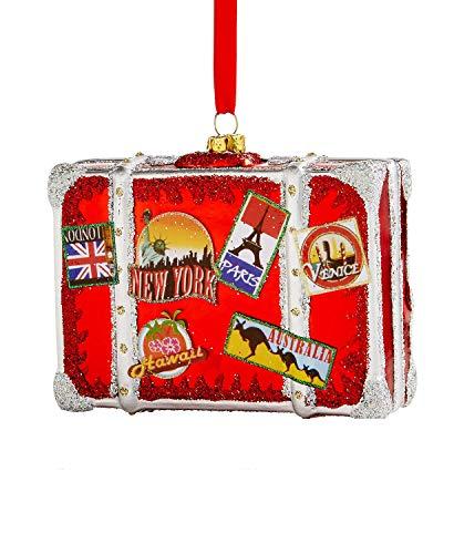 Holiday Lane Glass World Traveler Suitcase Ornament