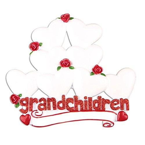 Polar X Grandchildren with 8 Hearts Personalized Christmas Ornament