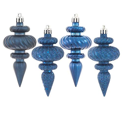 Vickerman 569290-4″ Midnight Blue 4 Assorted Finish Finial Christmas Tree Ornament (8 pack) (N500031)