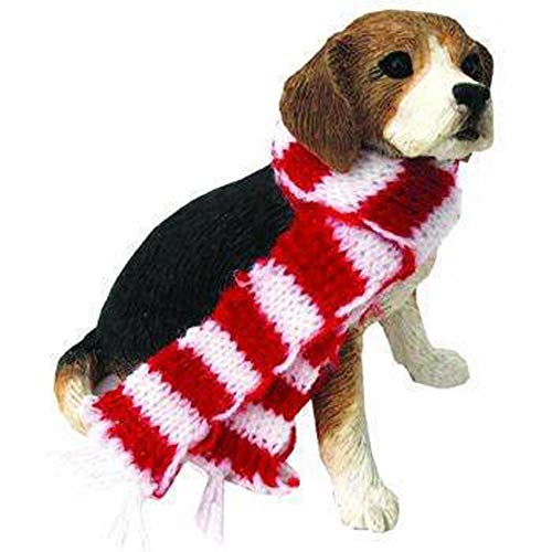 Sandicast Ornament – Beagle with Red and White Scarf Sitting (XSO001)