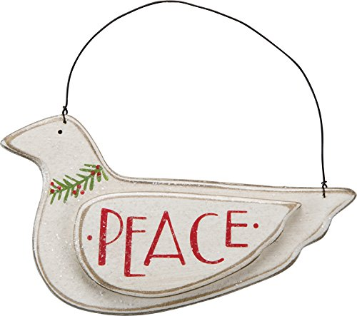 Primitives By Kathy Ornament 7 inches x 4 inches – Peace Dove