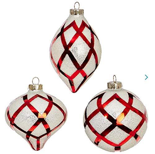 RAZ Imports Set of 3 Diamond Patterned Ornament RED/White