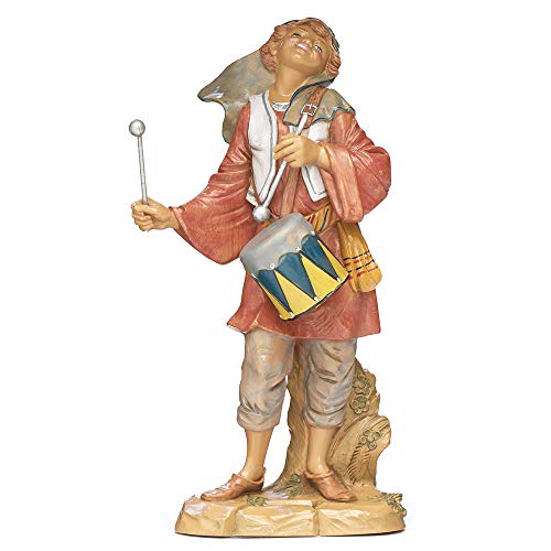Fontanini, Nativity Figure, Jareth The Drummer Boy, 12″ Scale, Collection, Handmade in Italy, Designed and Manufactured in Tuscany, Polymer, Hand Painted, Italian, Detailed
