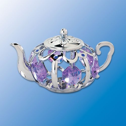 Chrome Plated Teapot Sun Catcher – Purple Swarovski Crystal