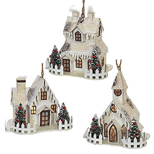 RAZ Imports Lighted Christmas House Ornament Set