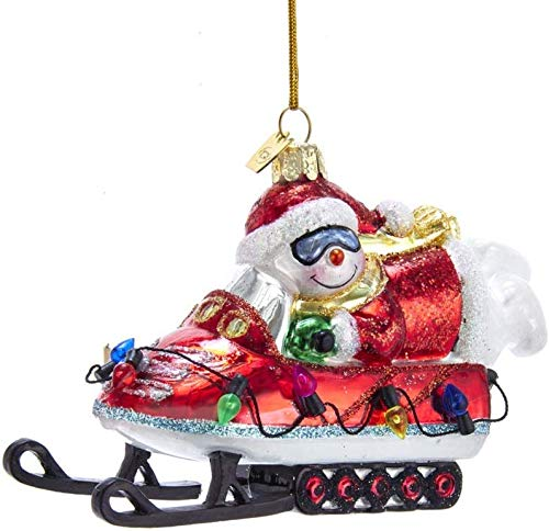 Kurt Adler Noble Gems Snowman on Snowmobile Glass Hanging Ornament, 5 inches Tall