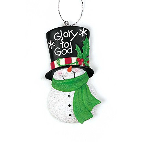 Dicksons Glory to God Mistletoe Top Hat Snowman 1.5 x 3 Resin Stone Christmas Ornament