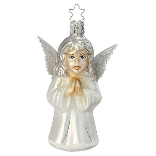 Inge Glas Angel Faithful One 1-071-15 German Blown Glass Christmas Ornament