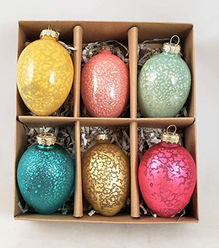 180 Degrees Easter Egg Set of 6 Glass Ornaments Antique Crackle Finish Boxed Set