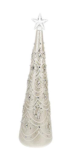 Ganz Light Up Elegant Jewelled Glass Christmas Tree Home Decor Large, Gold, 33/4″ Dia. x 14″ H.