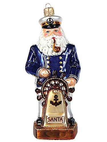 Pinnacle Peak Trading Company Ship Captain Santa Polish Blown Glass Christmas Ornament Nautical Decoration