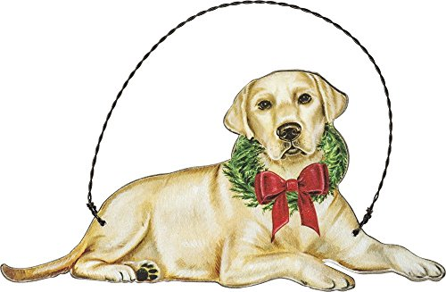Primitives by Kathy Christmas Yellow Lab Wooden Decorative Hanging Ornament