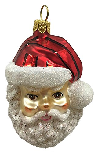 Pinnacle Peak Trading Company Santa Claus Face with Glitter Beard Polish Glass Christmas Tree Ornament