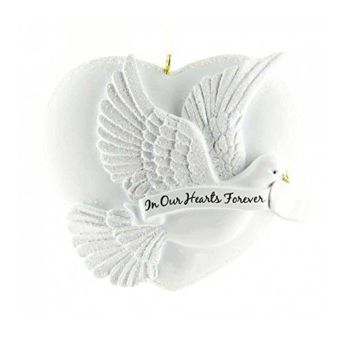 Personalized Our Heart Forever Christmas Tree Ornament 2019 – White Heart Big Peaceful Dove Ribbon Angel Religious Pray God Heaven Wings Memorial Faith Remembrance Year – Free Customization