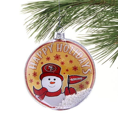 San Francisco 49ers Glass Disc Snowman Ornament