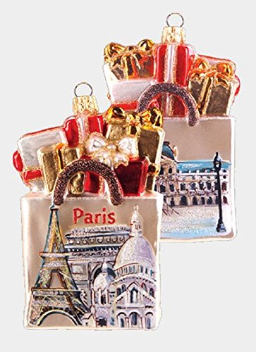 Pinnacle Peak Trading Company Paris France Shopping Bag Polish Glass Christmas Ornament ONE Travel Decoration