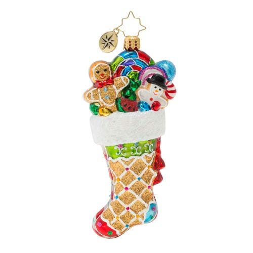 Christopher Radko Hand-Crafted European Glass Christmas Decorative Figural Ornament, Sweetly Stuffed Stocking