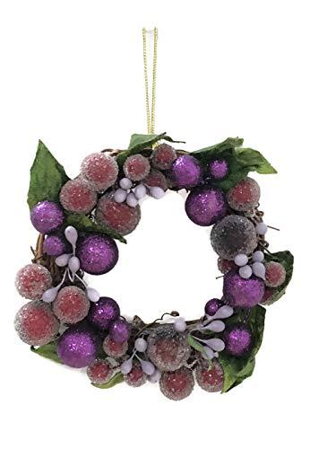 Holiday Lane Twig & Purple Berry 5″ Wreath Christmas Tree Ornament