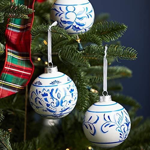 Set of 3 Raz 4″ Blue and White Delft Scroll Glass Ball Christmas Ornament 3912535