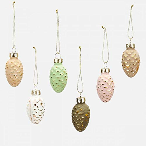 One Hundred 80 Degrees Small Glass Pine Cone Ornaments – Boxed Set of 6