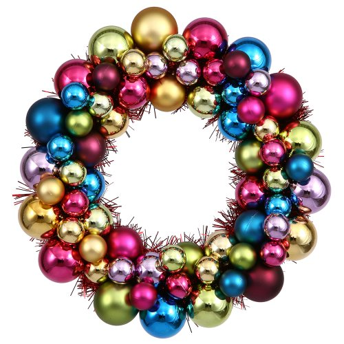 Vickerman 12″ Multi Colored Ball Wreath