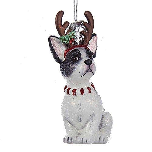 Kurt Adler Kurt S. Adler Noble Gems French Bulldog with Antlers Glass Ornament
