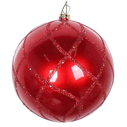 Vickerman 613535-4″ Red Candy Glitter Net Ball Christmas Tree Ornament (3 pack) (MT198003D)