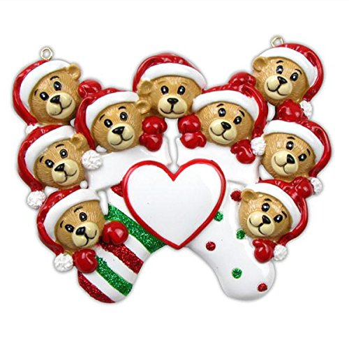 Polar X 9 Bears Clinging to Stocking Personalized Christmas Ornament (Family Series)