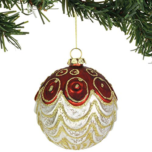 Department 56 Magnolia Garden Scalloped Ball Hanging Ornament, 4 Inch, Multicolor