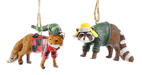 Creative Co-op Woodland Fox & Raccoon in Clothing Hanging Ornaments – Set of 2