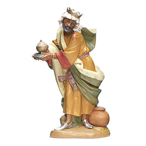 Fontanini, Nativity Figure, King Balthazar, 12″ Scale, Collection, Handmade in Italy, Designed and Manufactured in Tuscany, Polymer, Hand Painted, Italian, Detailed