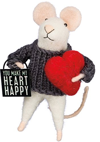 Primitives by Kathy Box Sign Mouse – Heart Happy Size: 4.50″ Tall