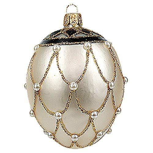Pinnacle Peak Trading Company Faberge Inspired Mini White Pearl Egg Polish Glass Christmas or Easter Ornament