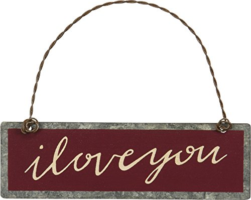 Primitives by Kathy PBK Valentines Decor – I Love You Red Ornament Sign