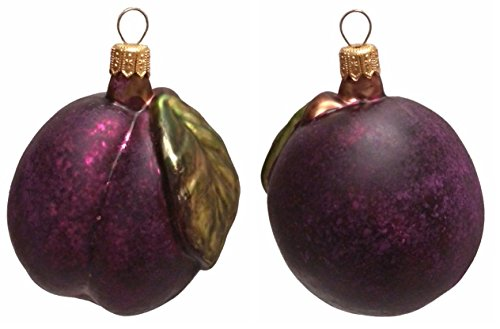 Pinnacle Peak Trading Company Large Plum with Leaf Polish Blown Glass Christmas Ornament Set of 2 Decorations