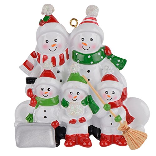 MAXORA Sweeping Snowman Family of 5 Funny Christmas Ornament