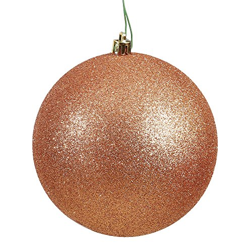 Vickerman N591058DG Glitter Ball Ornaments with Shatterproof UV Resistant, Pre-drilled cap Secured & 6″ of Green Floral Wire in 6 per bag, 4″, Rose Gold