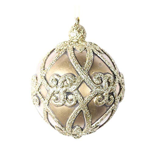 Vickerman 621172-5″ Champagne Antique Filigree Ball Christmas Tree Ornament (3 pack) (MC193538)