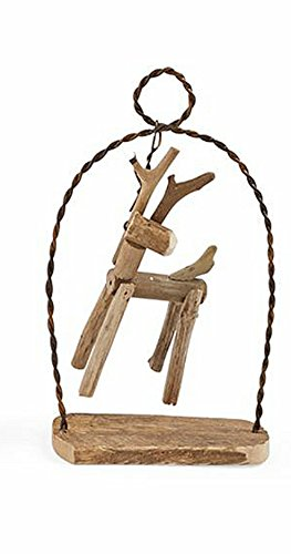 Mud Pie Driftwood and Wire Ornaments (Reindeer)