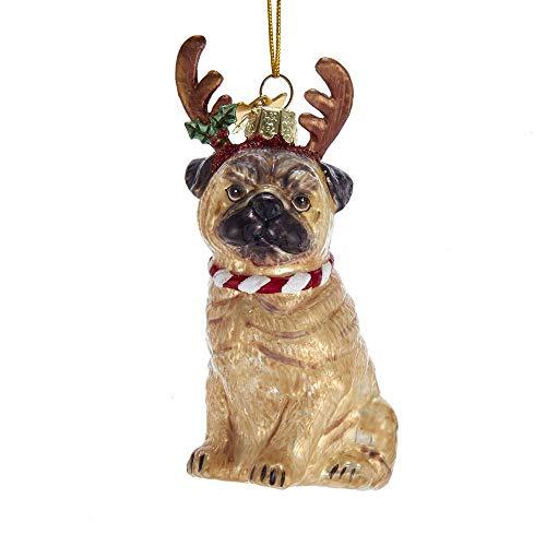 Kurt Adler Noble Gems Pug with Antlers Glass Hanging Ornament