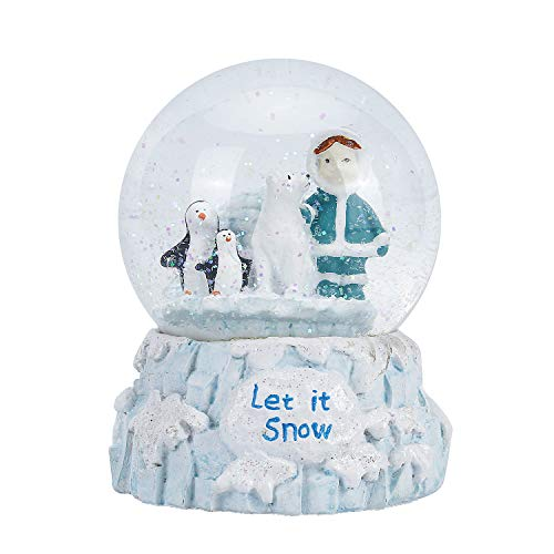 APELPES Christmas Snow Globes,New Year's Snowglobes Gift, Musical and Light, for The Love of Precious Moments, Resin/Glass (Diameter 100mm, Girls and Penguins)