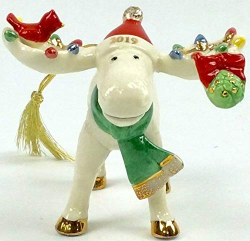 Lenox Merry Marcel the Moose with Cardinal Under the Mistletoe Porcelain Ornament 2019 New in box