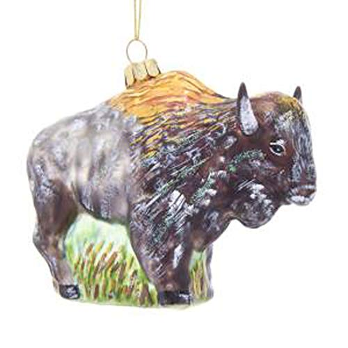 Kurt Adler Noble Gems Glass Buffalo Ornament, 3.5-Inch