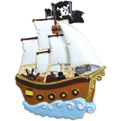 Personalized Pirate Ship Christmas Tree Ornament 2019 – Wooden Sailor Boat Adventurous War Vessel Deck Caribbean Boy Toddler Holiday Kids Toy Sea Shark Treasure Gift Year – Free Customization