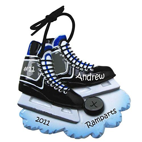 Polar X Hockey Skates Black Personalized Christmas Ornament