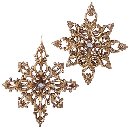 RAZ Imports – Garnet Theme – 5.5″ Antiqued Gold Filigree Snowflake Ornaments – Set of 2