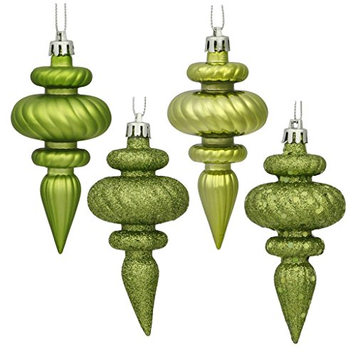 Vickerman 480236-4 Lime 4 Assorted Finish Finial Christmas Tree Ornament (Set of 8) (N500073)